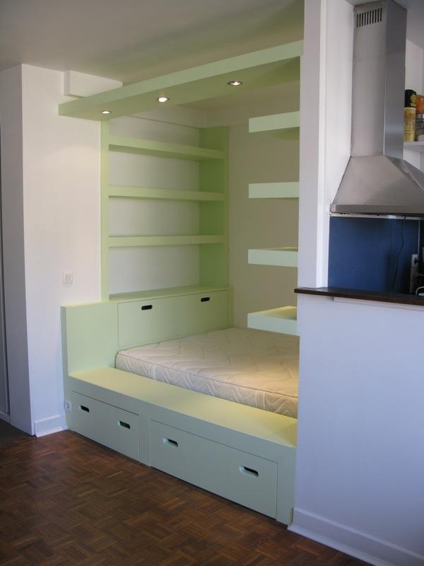 Lit alcove des id es novatrices sur la conception et le mobilier de maison - Chambre en alcove ...